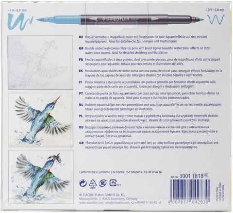 Marsgraphic Duo Double Ended Watercolor Brush Markers 18/Pkg