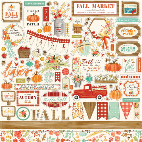 "Fall Market Cardstock Stickers 12""X12"""