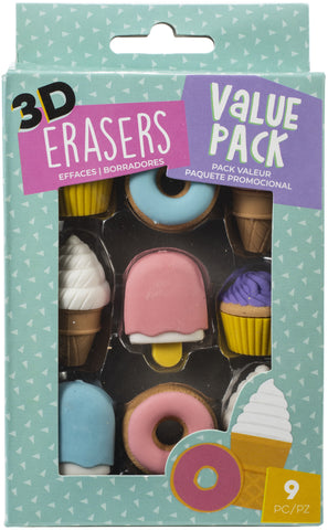 AC Office 3D Erasers 9/Pkg