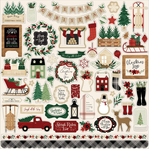 "A Cozy Christmas Cardstock Stickers 12""X12"""