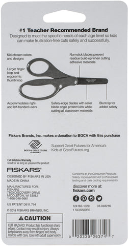 Fiskars Kids' Decorated Non-Stick Blunt Tip Scissors 5""