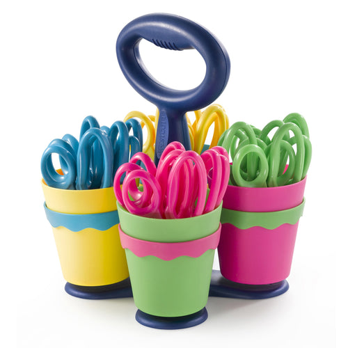 School Scissor Caddy With 24 Pointed 5 Kids Scissors, Anti-Microbial Protection