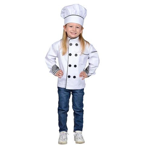 Chef Jacket & Hat, One Size Fits Most, Ages 4-8 Years