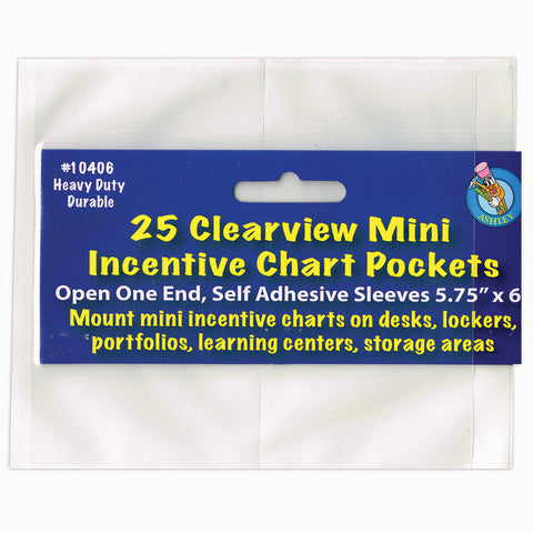 Clear View Self-Adhesive Mini Incentive Chart Pocket 6 X 7, Pack Of 25