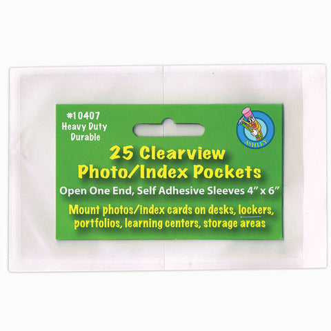 Clear View Self-Adhesive Photo/Index Card Pocket 4 X 6, Pack Of 25