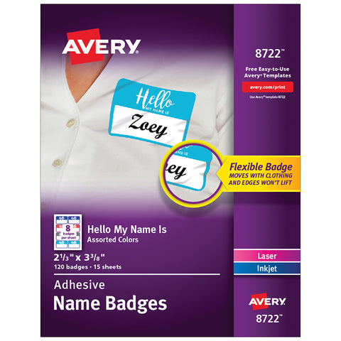 Removable Adhesive Hello My Name Is Name Tags, Assorted Colors, 2-1/3 X 3-3/8, 120 Badges