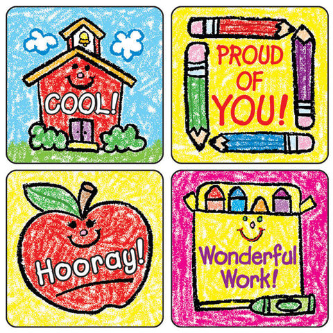School Days: Kid-Drawn Motivational Stickers, Pack Of 120