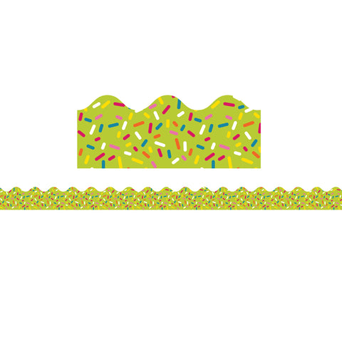 School Pop Lime Sprinkles Scalloped Borders, 39'