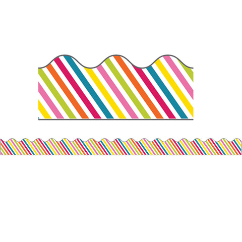 School Pop Rainbow Stripe Scalloped Borders, 39'