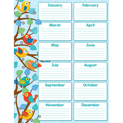Boho Birds Birthday Chart