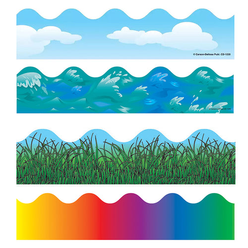 Scalloped Variety Border Set I: Clouds, Grass, Rainbow, Ocean Waves