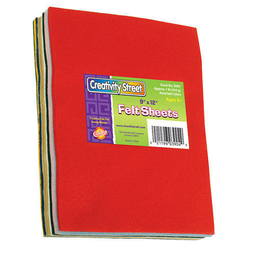 Felt Sheets, 7 Assorted Colors, 9 X 12, 1 Lb.