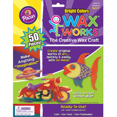 "Wax Works Sticks, Bright Hues Assorted, 10"", 50 Pieces"