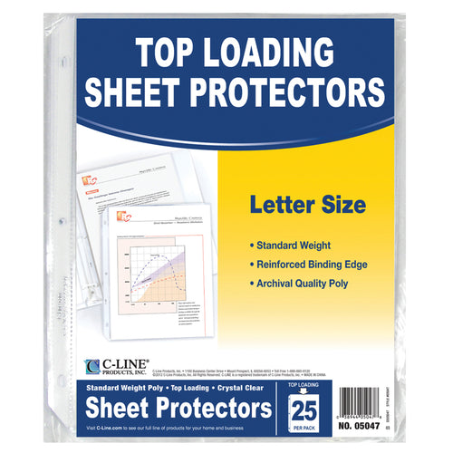 C-Line Crystal Clear Standard Weight Sheet Protectors, 25/Pkg