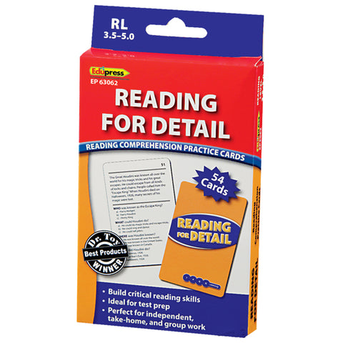 Reading For Detail Practice Cards, Levels 3.5-5.0