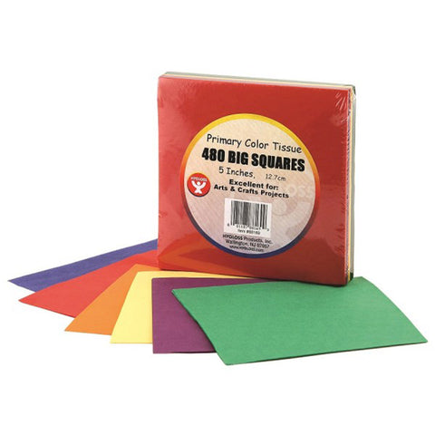 5 Tissue Squares, Primary Colors, 480/Pkg