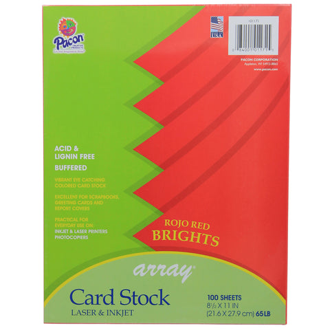 Array Card Stock Brights Rojo Red