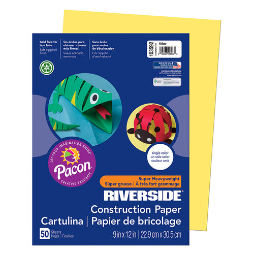 "Riverside 3D""¢ Construction Paper, Yellow, 9 X 12, 50 Sheets"