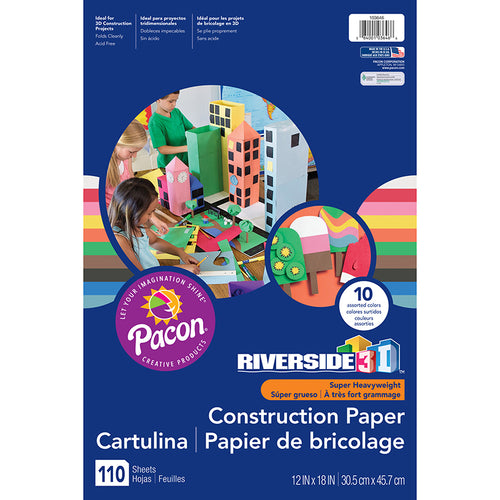 "Riverside 3D""¢ Construction Paper, 10 Assorted Colors, 12 X 18, 110 Sheets"
