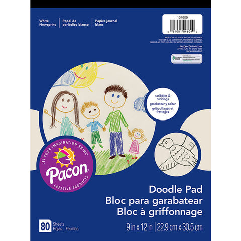 Art Street Doodle Pad, White, 9 X 12, 80 Sheets