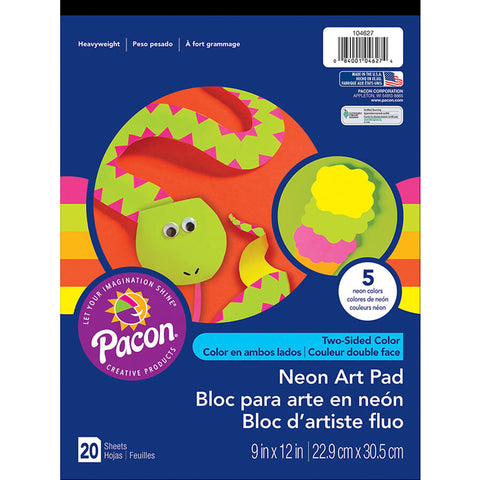 Art Street Neon Art Paper Pad, 5 Assorted Colors, 9 X 12, 20 Sheets