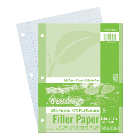 Recycled Filler Paper, White, 3-Hole Punched, 9/32 Ruled W/ Margin 8-1/2 X 11, 150 Sheets