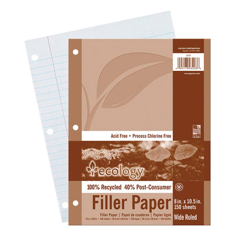 Recycled Filler Paper, White, 3-Hole Punched, 3/8 Ruled W/ Margin 8 X 10-1/2, 150 Sheets