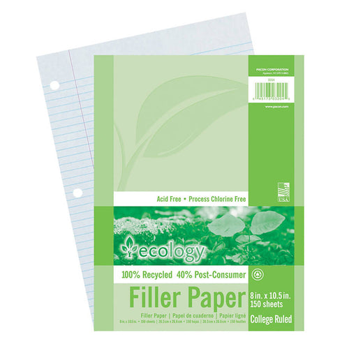 Recycled Filler Paper, White, 3-Hole Punched, 9/32 Ruled W/ Margin 8 X 10-1/2, 150 Sheets