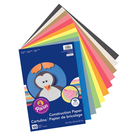 Art Street Lightweight Construction Paper, 10 Assorted Colors, 12 X 18, 100 Sheets