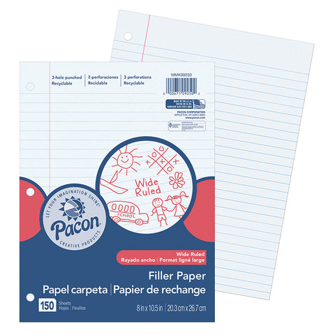 Filler Paper, White, 3-Hole Punched, Red Margin, 3/8 Ruled, 8 X 10-1/2, 150 Sheets