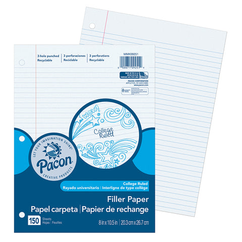 Filler Paper, White, 3-Hole Punched, Red Margin, 9/32 Ruled, 8 X 10-1/2, 150 Sheets