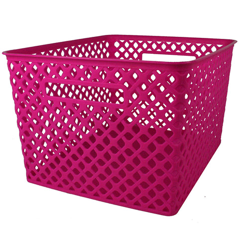 Large Hot Pink Woven Basket