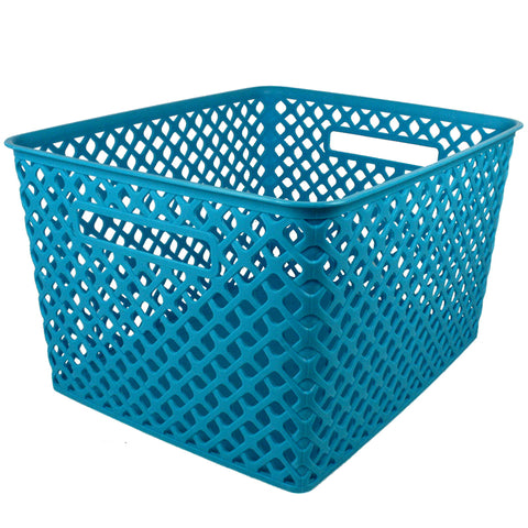 Large Turquoise Woven Basket