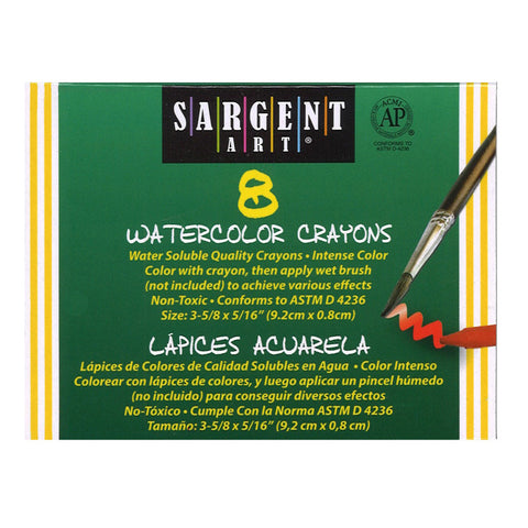 Sargent Art Watercolors, Crayons, 8 Color Set