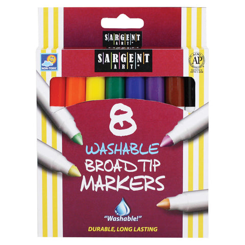 Sargent Art Washable Markers, Broad Tip, 8 Colors