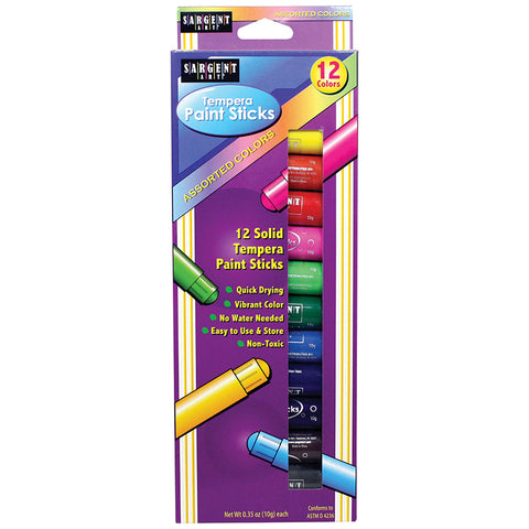 Sargent Art Tempera Paint Stick, Assorted Colors, Pack Of 12