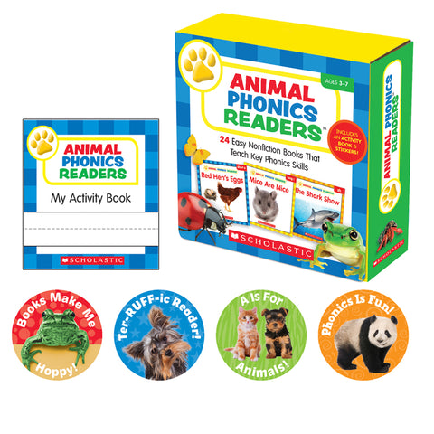 Scholastic Sc-565112 Animal Phonics Readers, Parent Pack, Pack Of 24