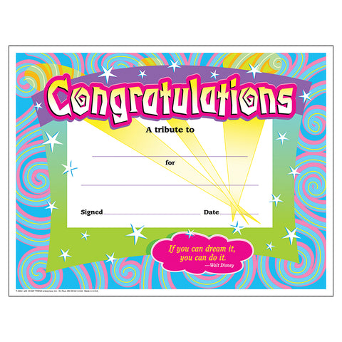 Congratulations/Swirls Colorful Classics Cert'S., 30 Ct