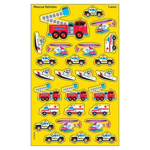 Rescue Vehicles Supershapes Stickers-Large, 200 Ct