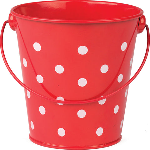 Red Polka Dots Pail With Handle