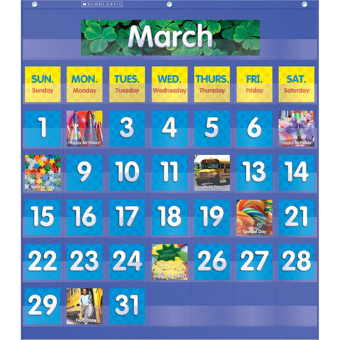 Scholastic Monthly Calendar Pocket Chart, 61 Pieces