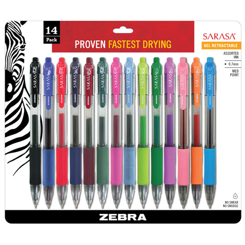 Sarasa Gel Retractable Gel Pens, Assorted 14-Pack