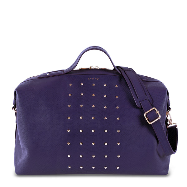 Front view of Latitu° Venezia weekender in royal purple, and shoulder strap