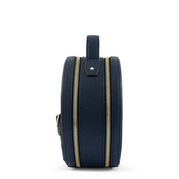 Side view of Latitu° Formosa handbag in navy blue