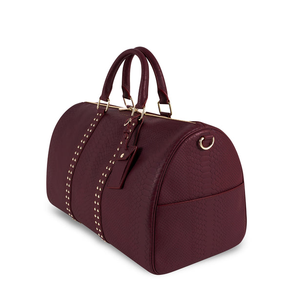 Right side view of Latitu° København holdall in burgundy