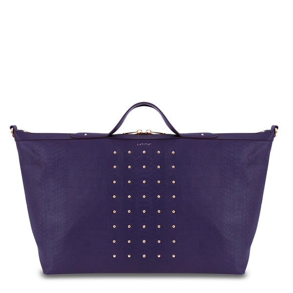 Front view of Latitu° Venezia weekender in royal purple, with sides expanded