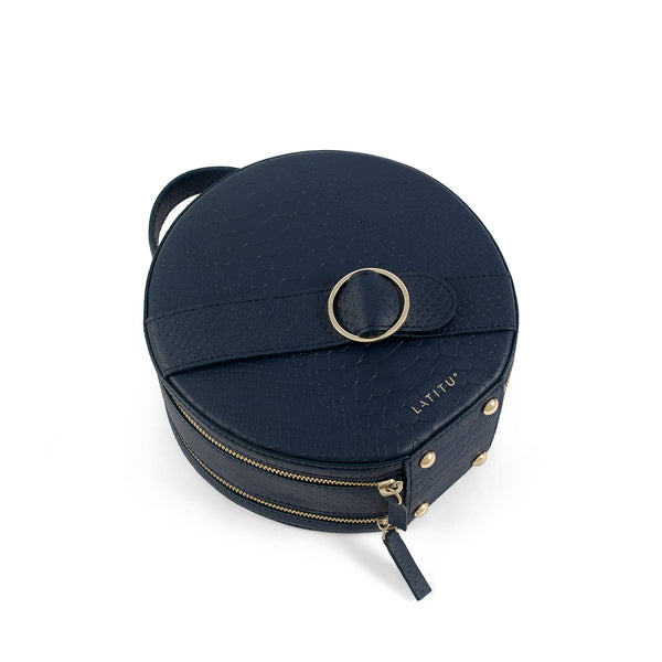 Flat view of Latitu° Formosa handbag in navy blue