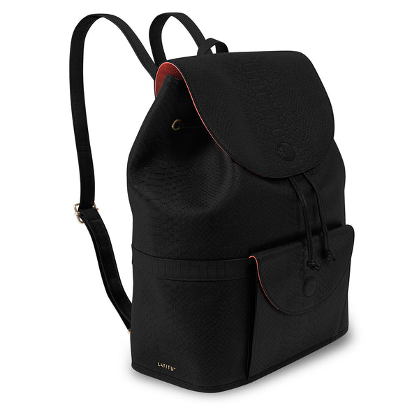 Three quarter view of Latitu° Praha backpack in black