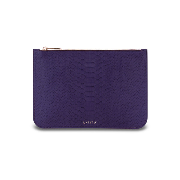 Front view of Latitu° removable leather clutch in royal purple