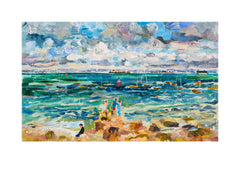 Fine art print of crabbing in the isle of wight